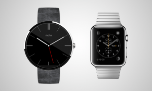 android wear next to an apple watch mockup render before apple watch launch in february