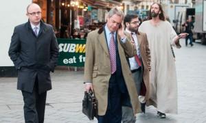 Nigel Farage followed by Jesus