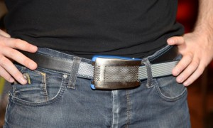 Emiota representative Johann Gobba wears Belty, a smart belt from Paris-based Emiota, at CES Unveiled, at the 2015 Consumer Electronics Show media preview day, January 4, 2015 in Las Vegas,