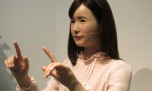 humanoid robot working in a hotel in japan