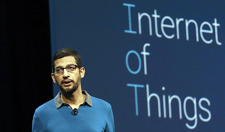 Sundar Pichai detailing on Google's IoT strategy
