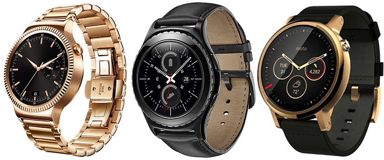 From left to the right, Huawei Watch full Gold, Samsung Gear S2 Classic and Moto 360 2 (2015)
