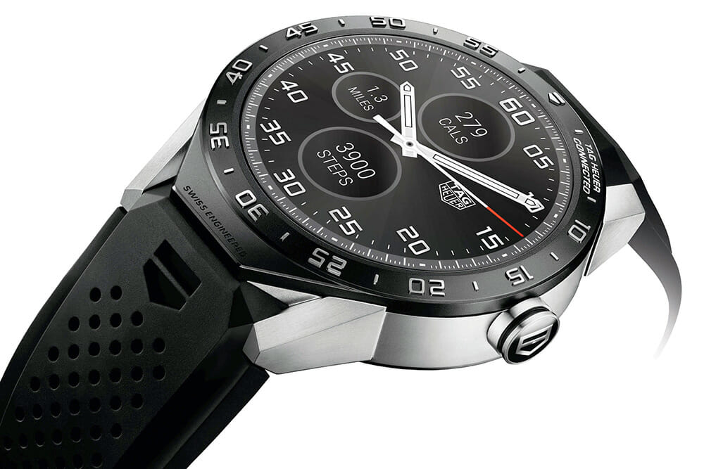 Tag Heuer Connected watch showing the digital crown