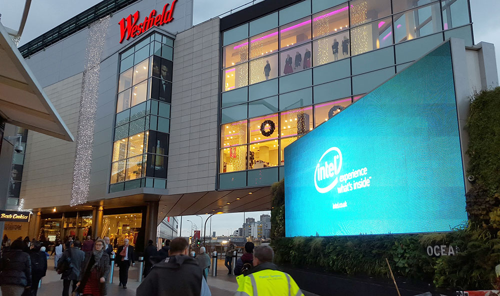 Fashion Technology board by Intel, advertising in London at Westfield shopping centre.