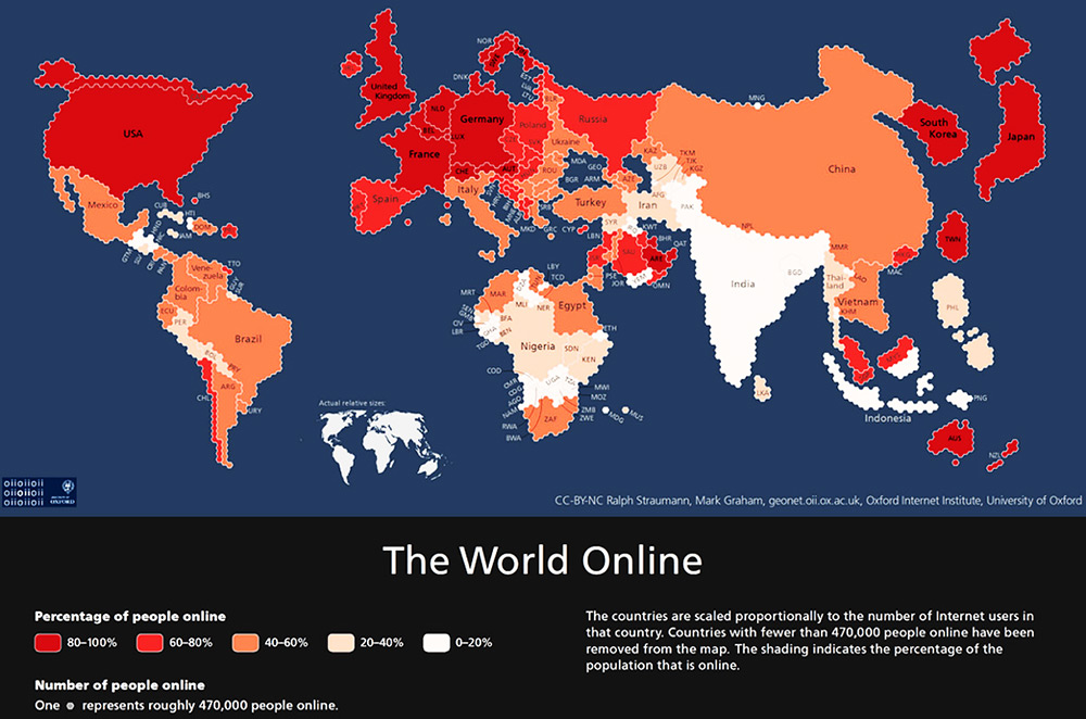Social Media Marketing - world internet connectivity map 2015