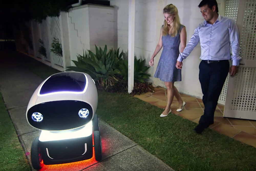 delivery robot from domino pizza delivering the order to a couple.