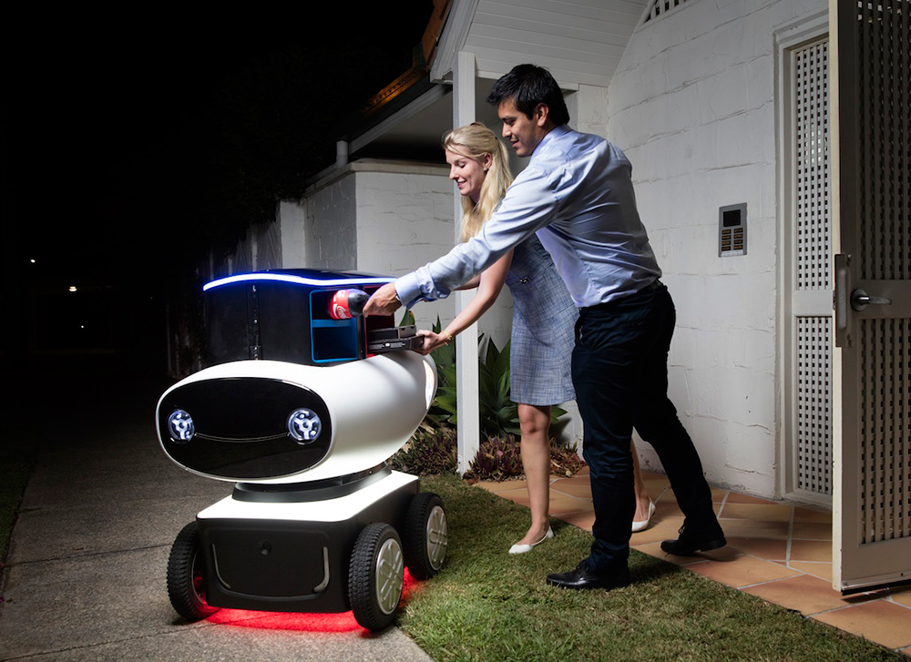the domino pizza delivery robot is locked with a special code only the pizza buyer has