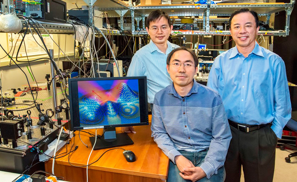 "Left to right: Yuan Wang, Zi Jing Wong and Xiang Zhang. The masterminds of the ultra-thin invisibility ""skin"" cloak."