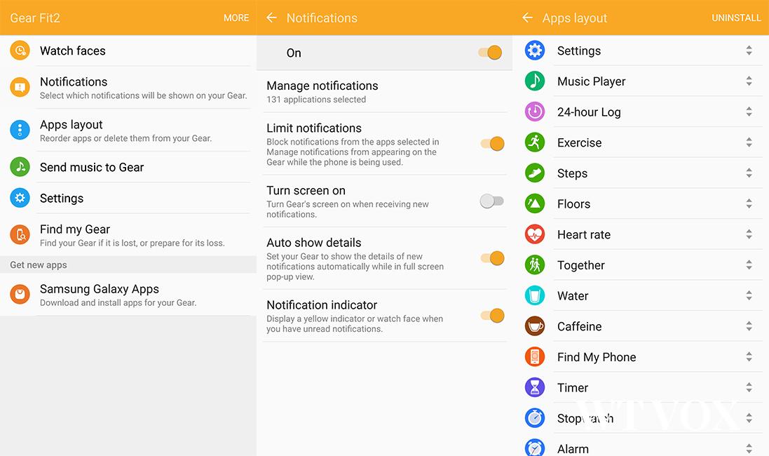 Samsung Gear Fit2 Gear app manager