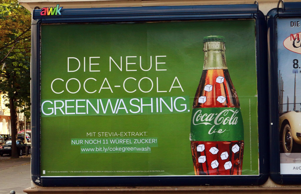 An advert in Germany promoting a green bottle of coca-cola as heathy - coca-cola life.