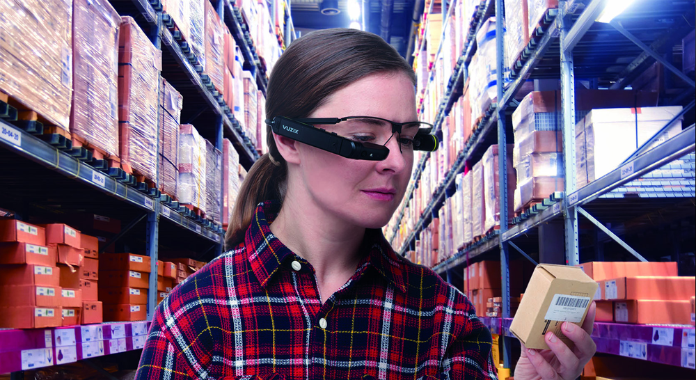 amazon wearable technology used by a woman wearing vuzix ar glasses