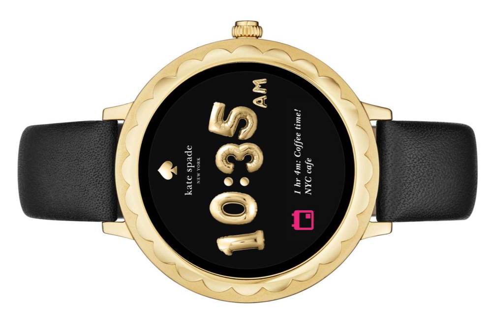 kate Spade Smartwatch in gold with black leather strap
