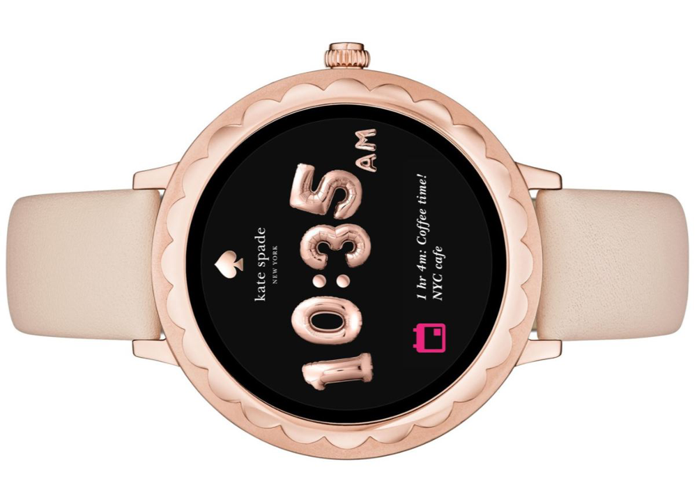kate Spade Smartwatch in gold with rose gold with pink leather strap