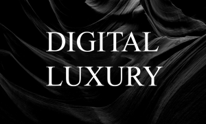 Digital luxury white text on a black background