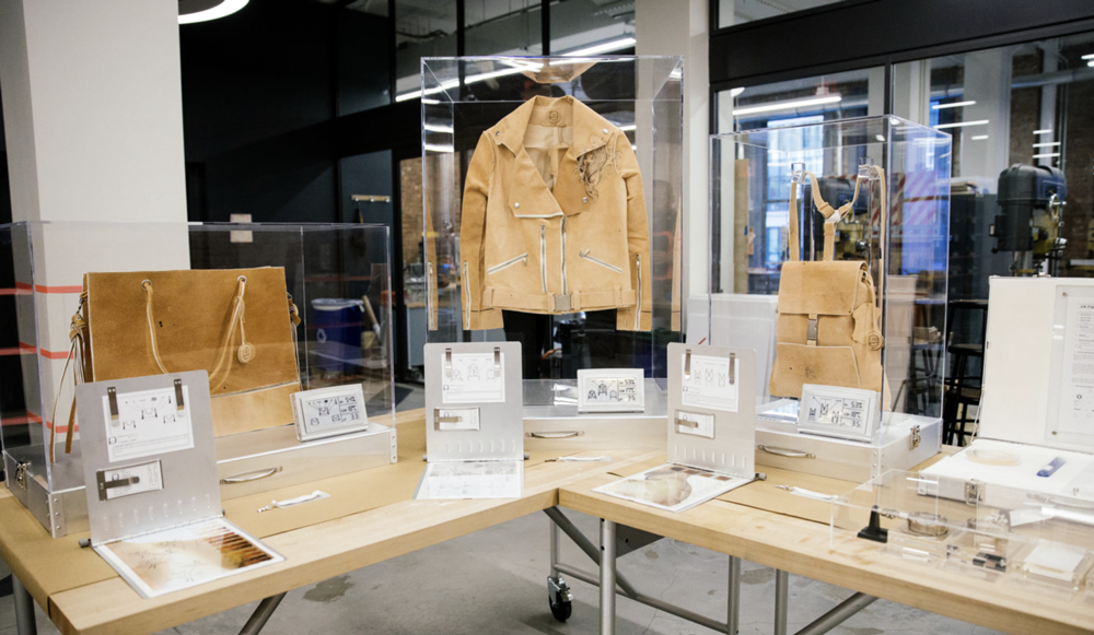 Innovative Materials---jacket-and-bag-made-from-leather-replacements-in-the-window-of-a-store