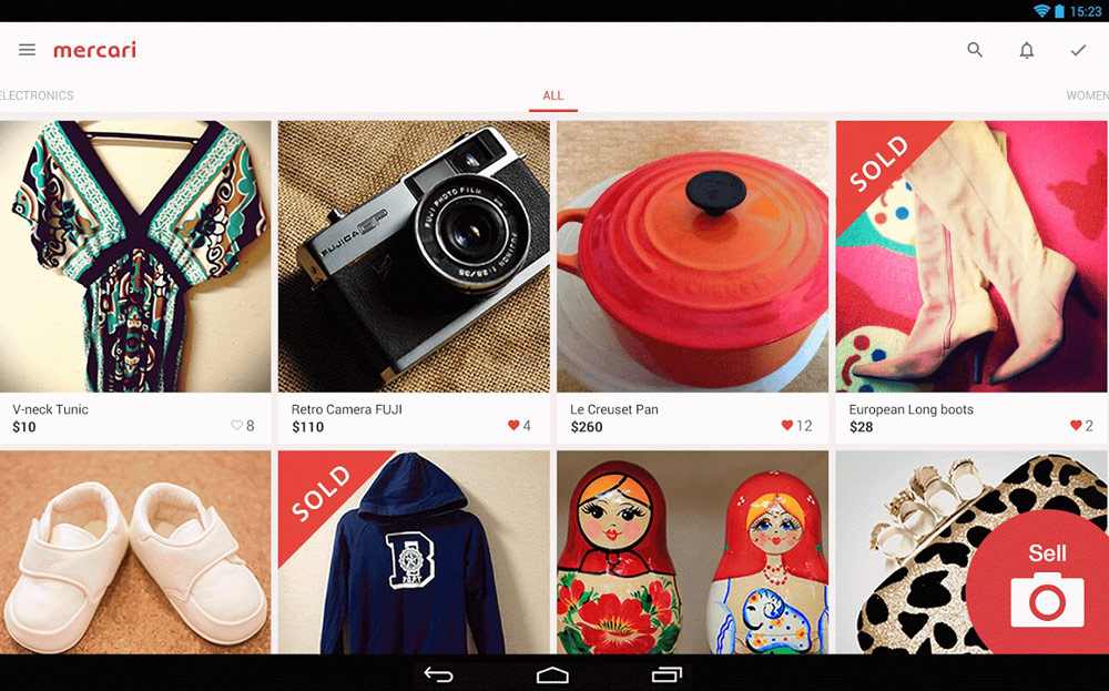 Collaborative Consumption In Fashion - A Path Towards Sustainable Fashion - Definition And Examples - Mercari smartphone app showing a dress, a camera, a red pot, a pair of boot, baby shoes, a hoodie, a hand bag and two Russian dolls