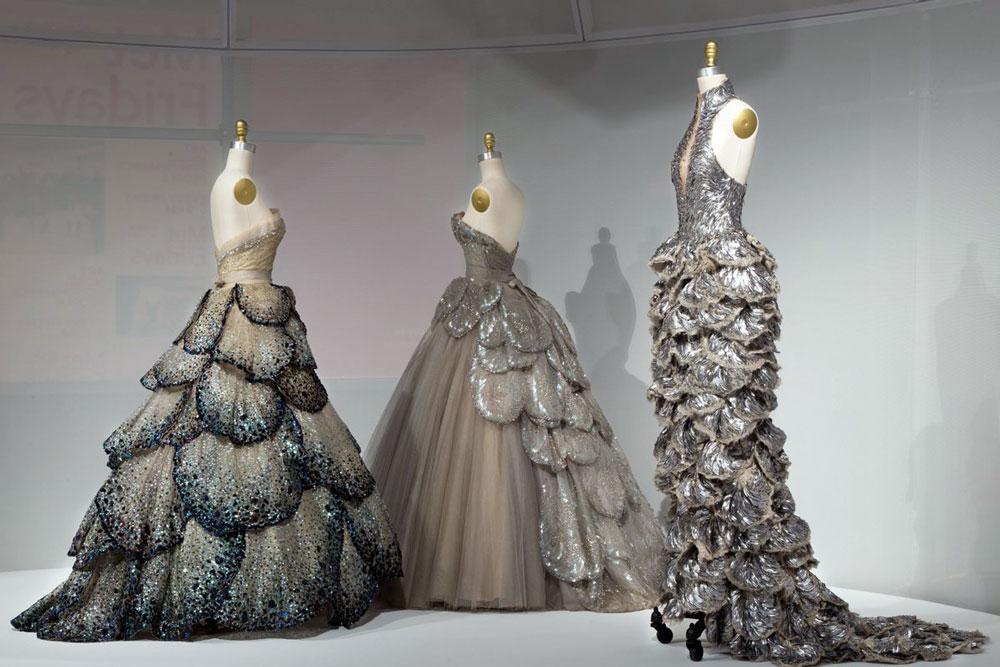 Fashion Biomimicry - MET fashion dresses on display