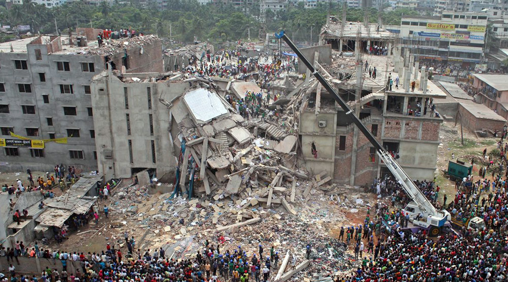 Sustainable Fashion Products Consumption - Rana Plaza collapsed factory buildings in Bangladesh while producing fashion and apparel goods
