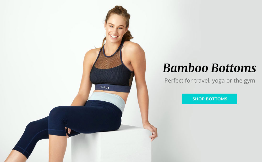 Athleisure Fashion - an advert showing girl wearing a sustainable athleisure outfit made from bamboo fibres