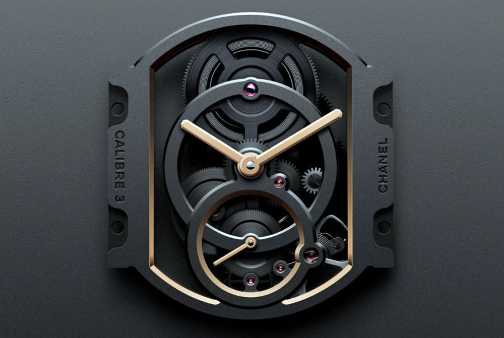 Chanel Calibre 4 Watch - detail of inside work on calibre watch 3 from chanel