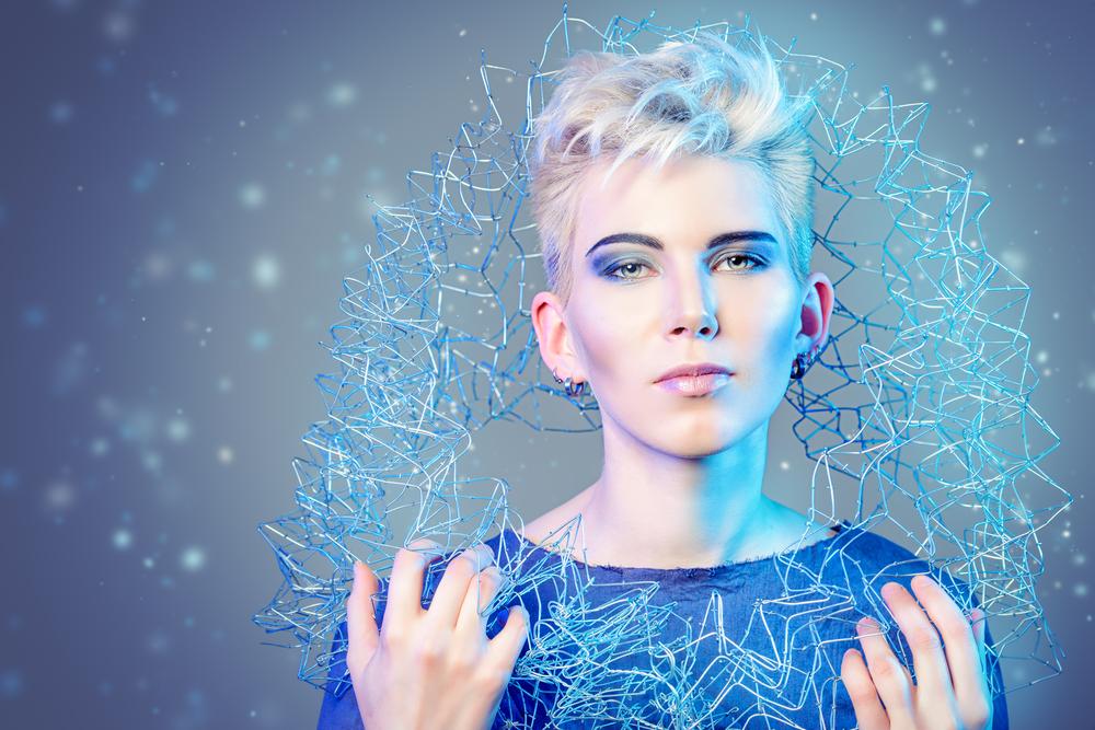 FashionTech - future fashion woman in blue