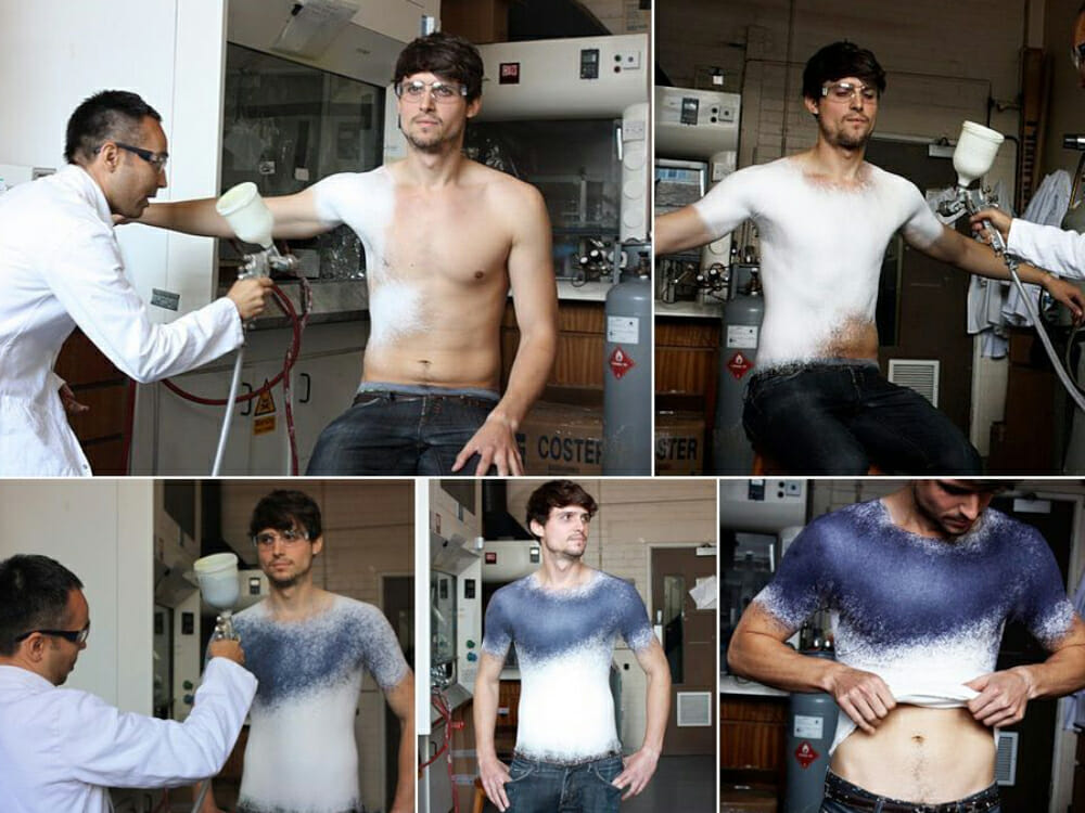 Fabrican Sprayable Clothes - spraying a tshirt on a man's body