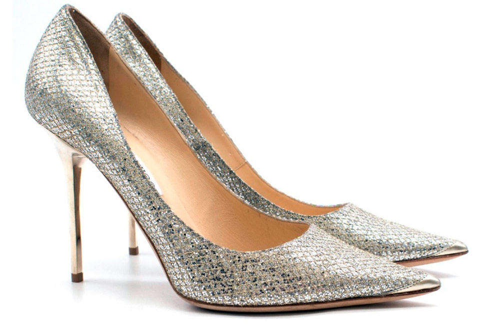 Second hand clothes - Jimmy Choo Romy 85 Silver Glitter Pumps