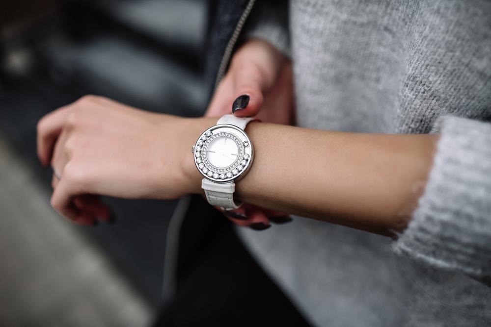 best date night smartwatch - silver watch with diamonds