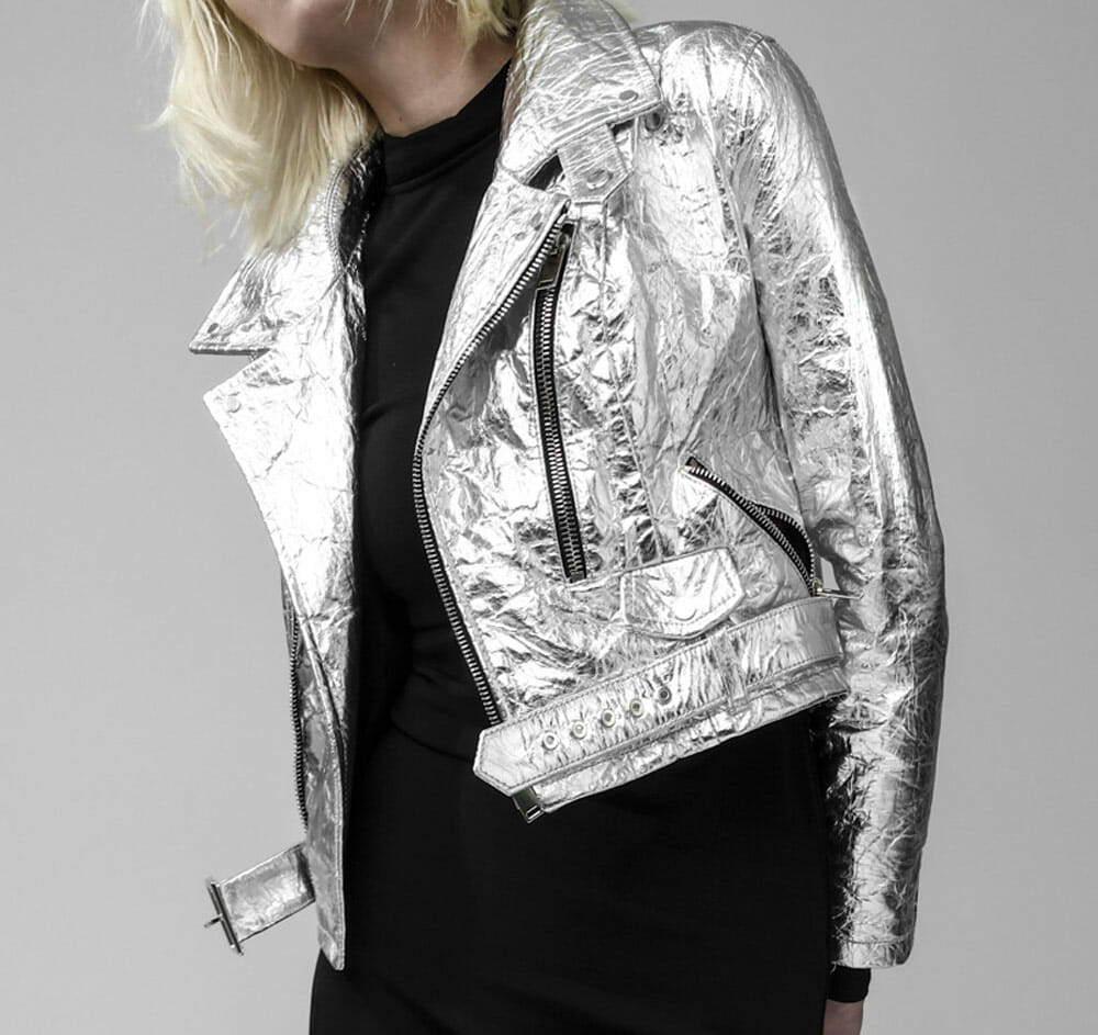 Vegan leather jacket - Altiir pinatex neo-classic silver biker