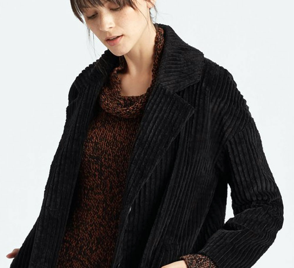 sustainable clothing collection for autumn - Eileen Fisher black coat