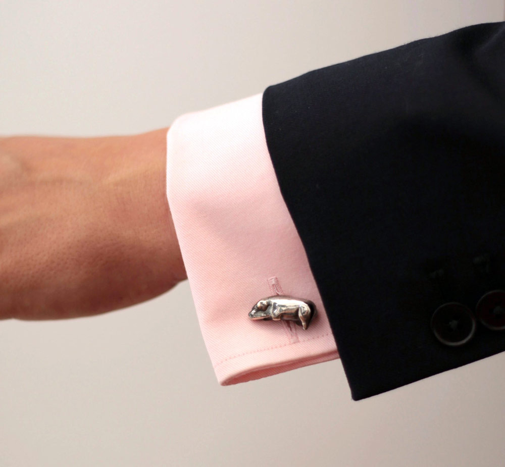 E-waste Jewellery by Lylie's - The Burnt Victorian Toy Pig Cufflinks