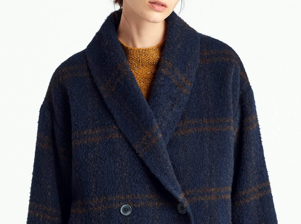 sustainable clothing collection for autumn - Eileen Fisher blue coat