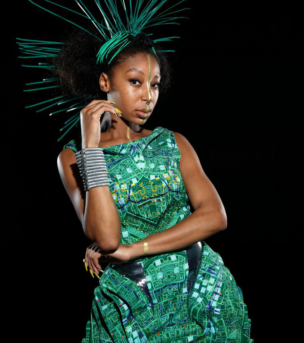 AfroDigital Fabric - green dress