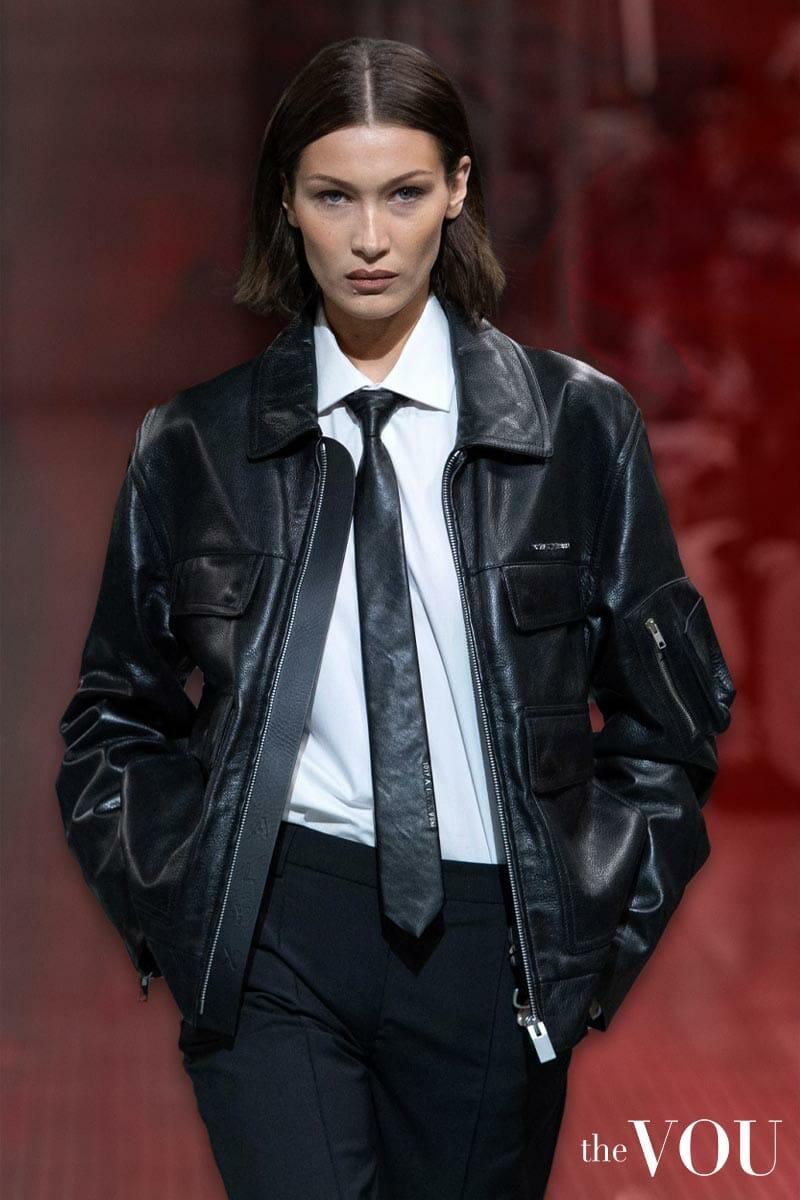 vegan leather jacket - bella hadid