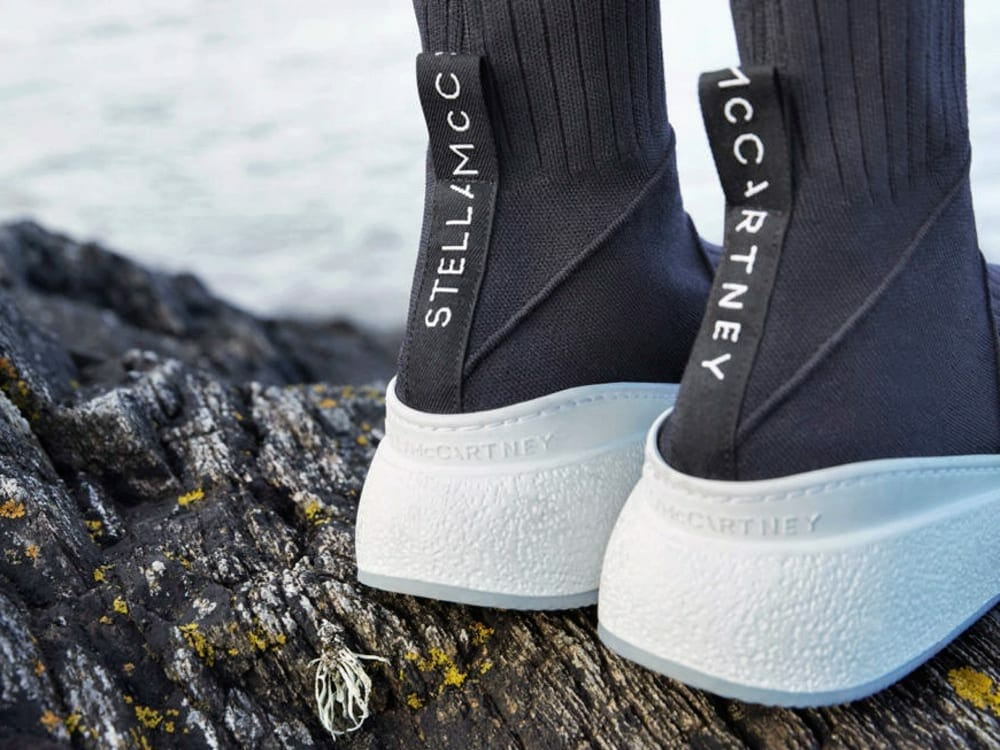 44d15cf930b4 Stella McCartney s Loop Lab at London s 23 Old Bond Street showcases the  construct of Loop Sneakers. Stella McCartney s new sustainable trainers are  made ...