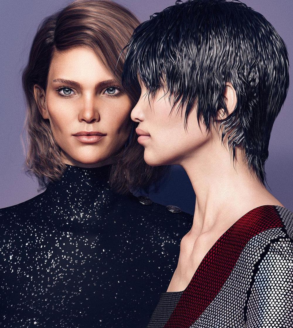 Digital Fashion Models - balmain margot and zhi