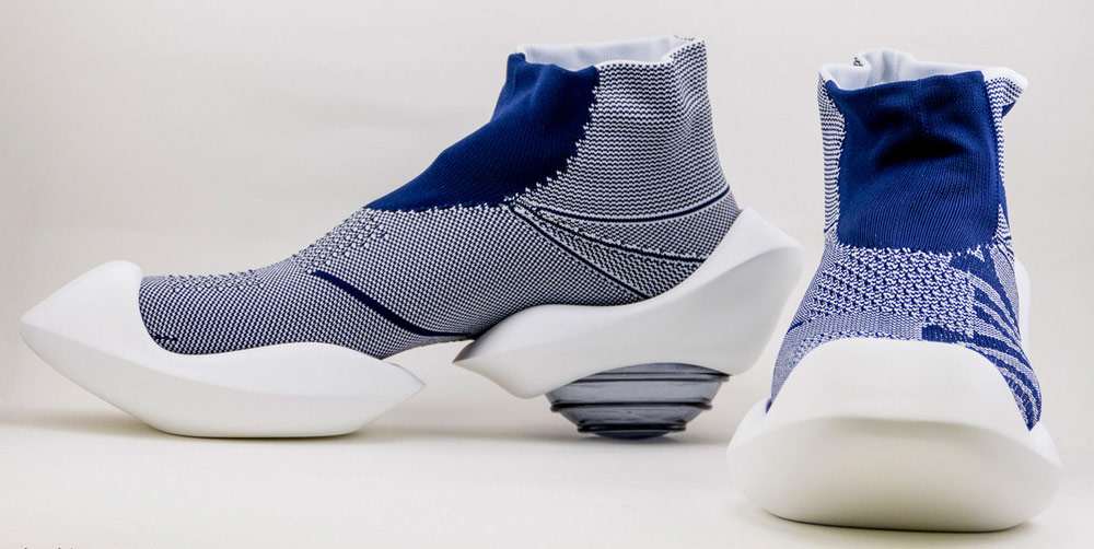 Mikio Sakabe's 3D Printed Shoes - Giddy up blue shoes with white soles