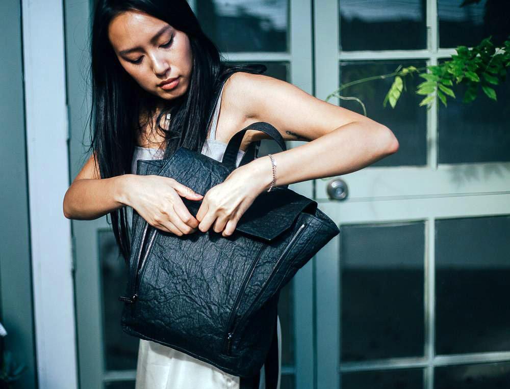 Best Vegan Bags - Maniwala Banwa Pinatex Backpack front pocket