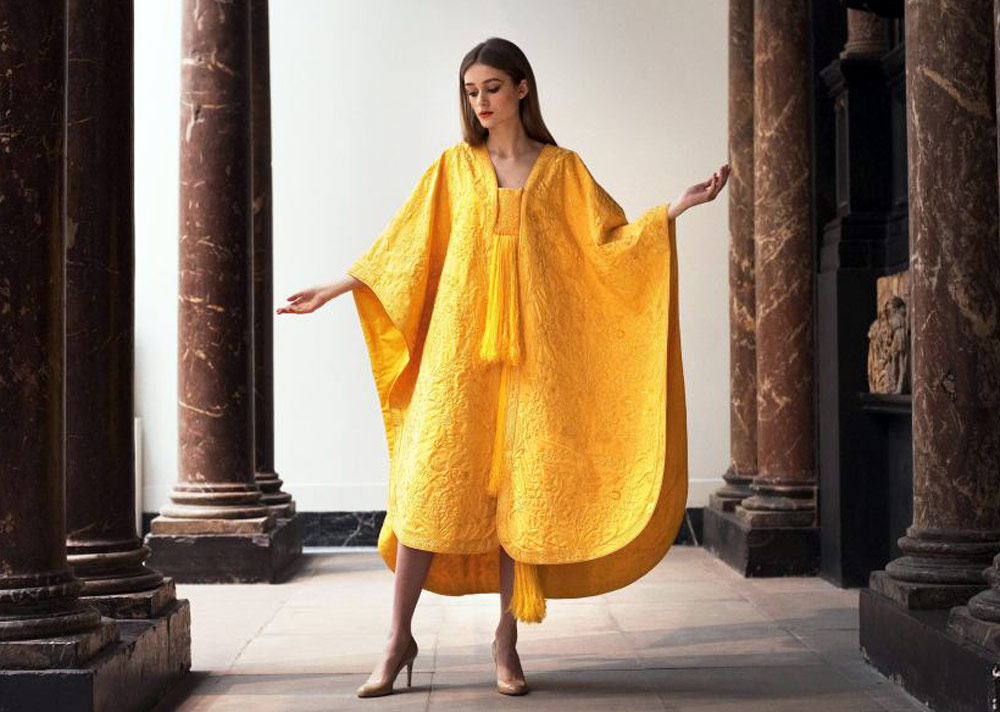 Sustainable Fashion Innovation - golden spider silk dress