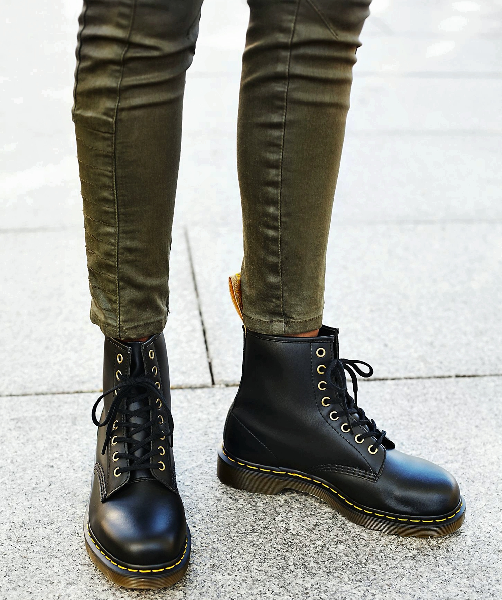 Vegan Boots For Winter - Dr Martens 1490 Flex Rub Off with skinny jeans
