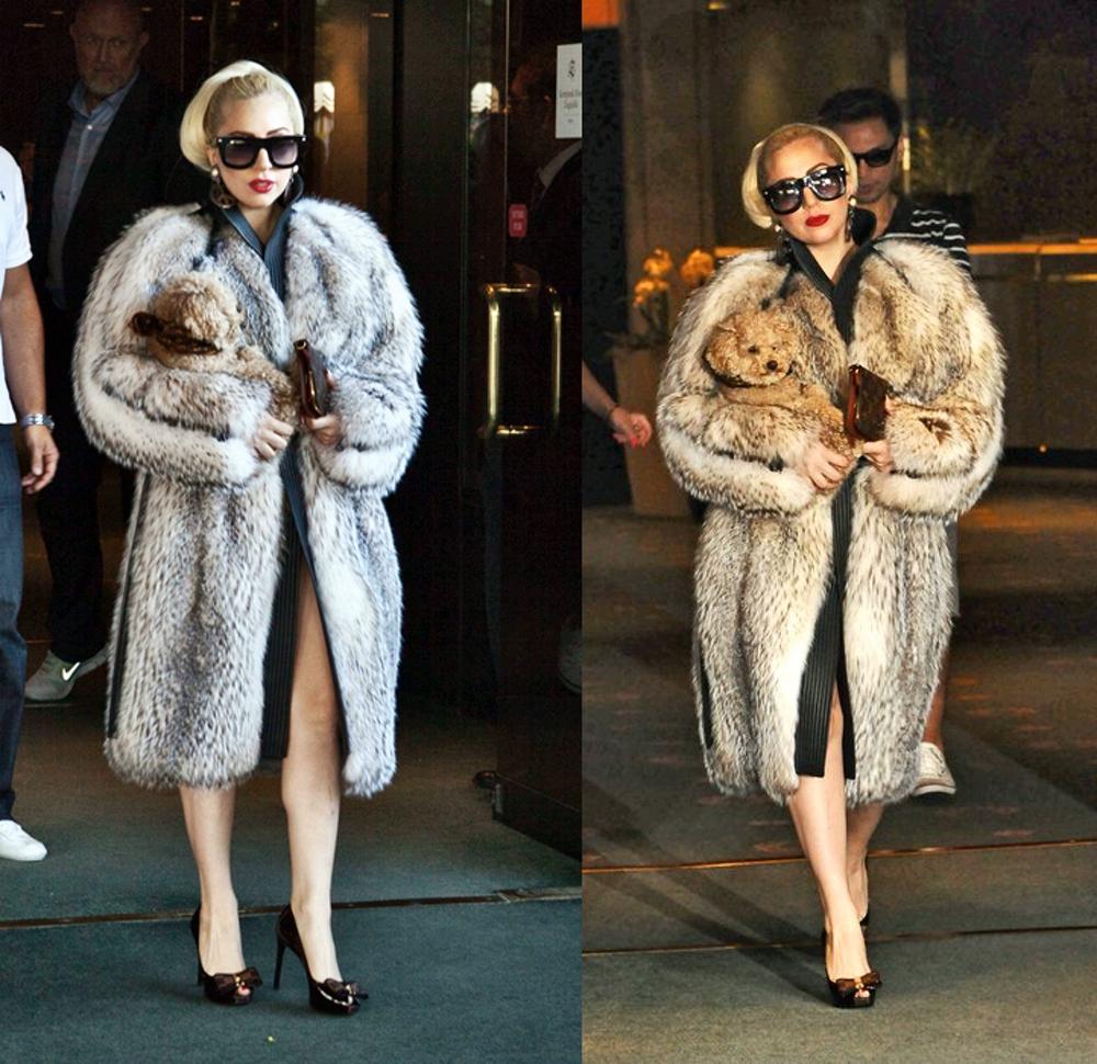 Kardashians Fashion - Lady gaga wearing fur