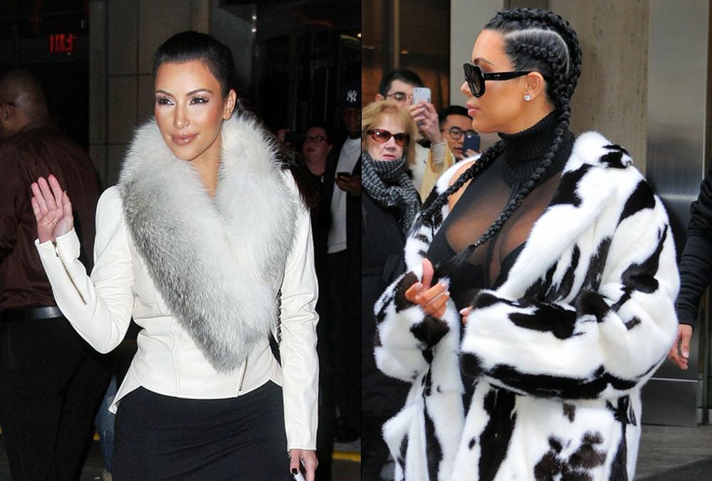Kardashians Fashion - Kim wearing animal skin