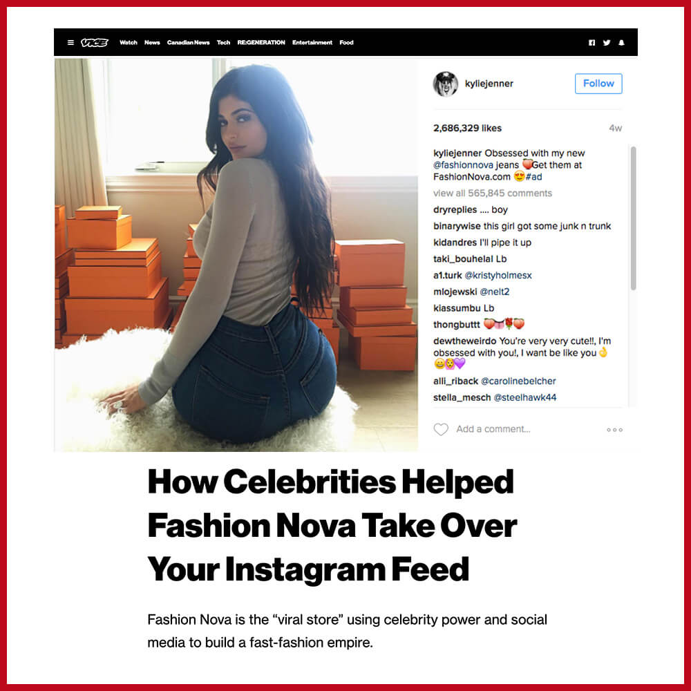 Kylie Jenner promoting fast fashion brand fashion nova