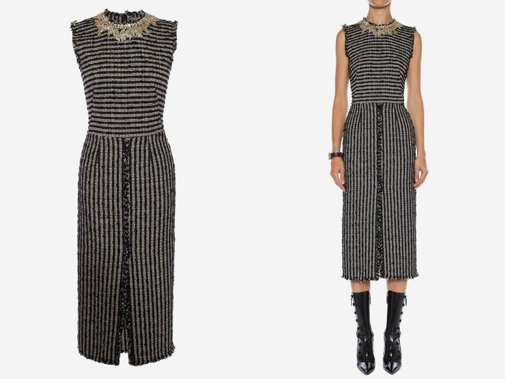 Alexander McQueen Vegan Boucle Tweed Midi Dress