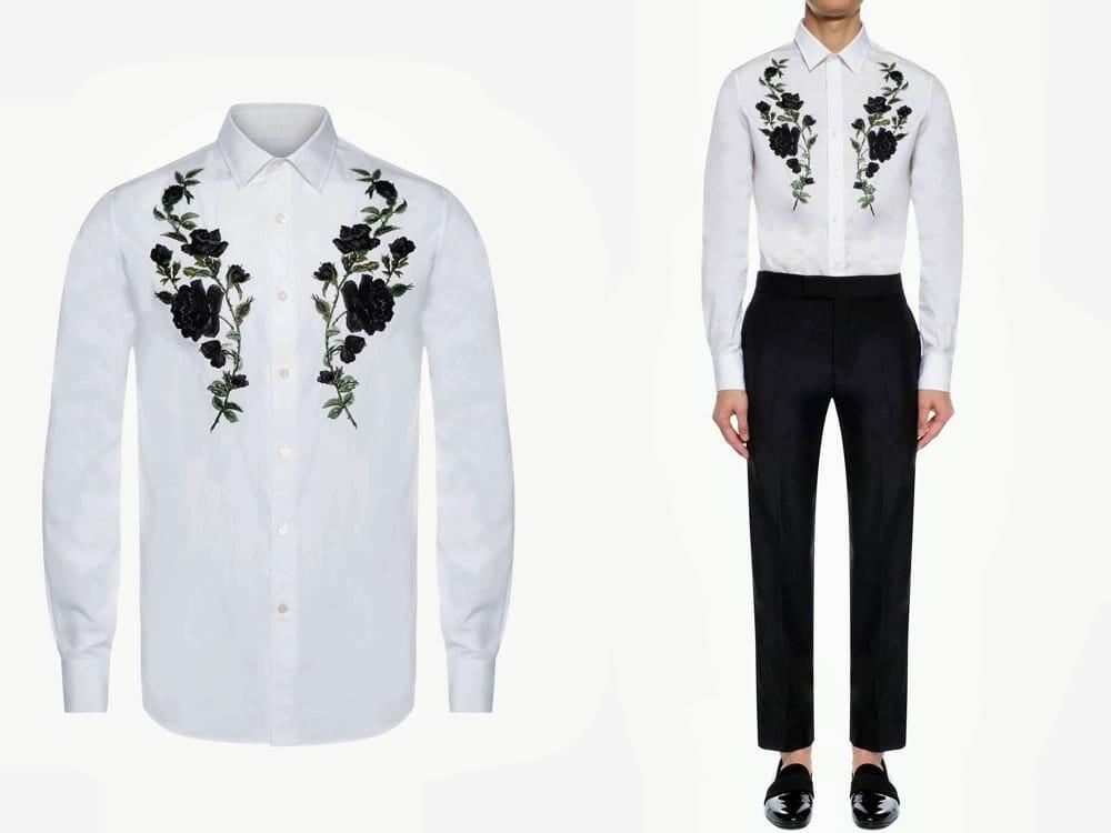 Alexander McQueen Vegan Embroidered Rose Poplin Shirt