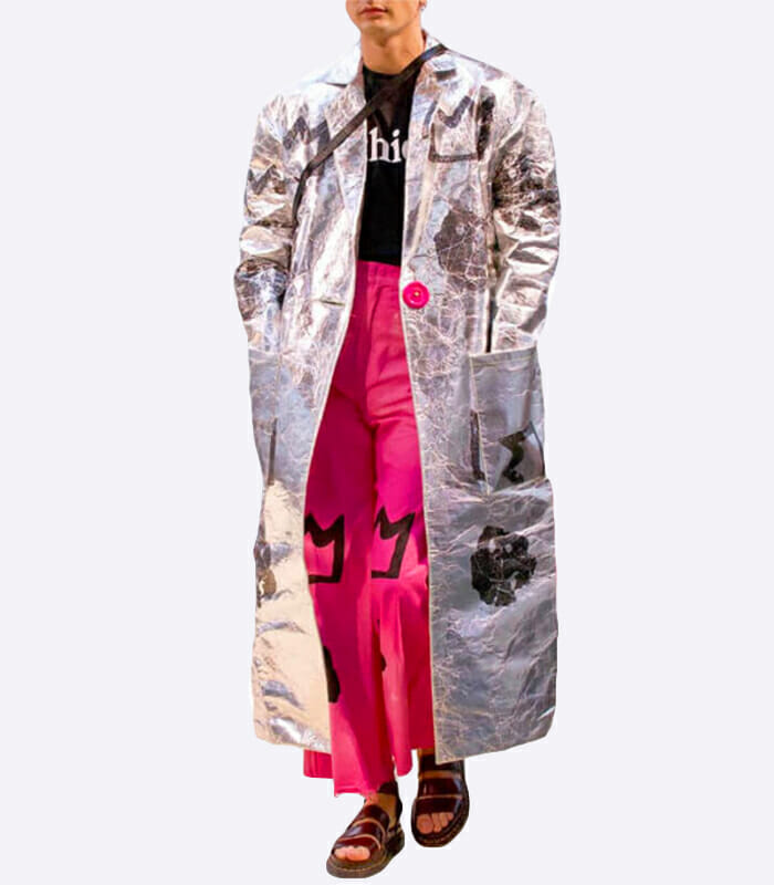Long Silver Pinatex Leather Coat – Eirinn Hayhow
