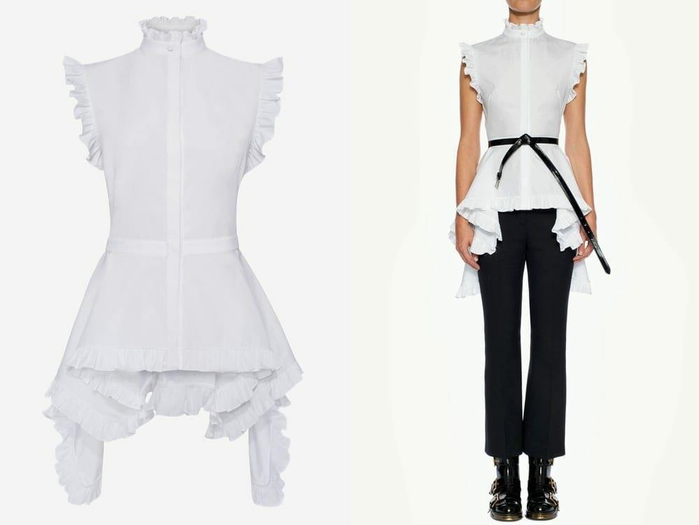 Alexander McQueen Vegan Sleeveless Poplin Shirt