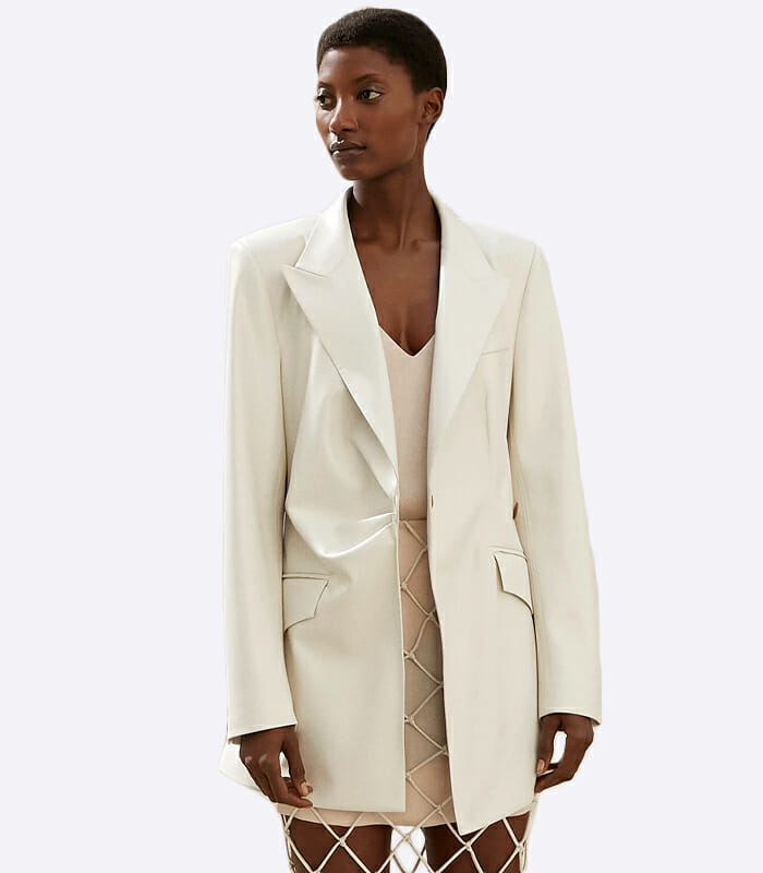 Blair Vegan Leather Fitted Blazer – Nanushka