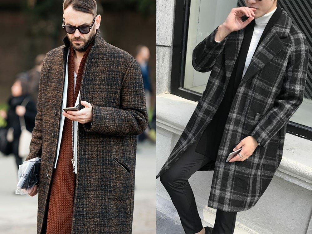 Men overalls With Plaid Overcoat