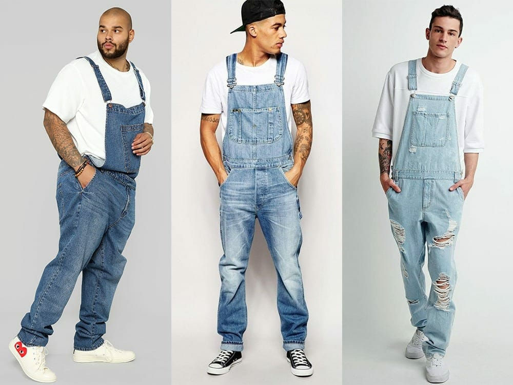 Men's overalls with white t-shirt